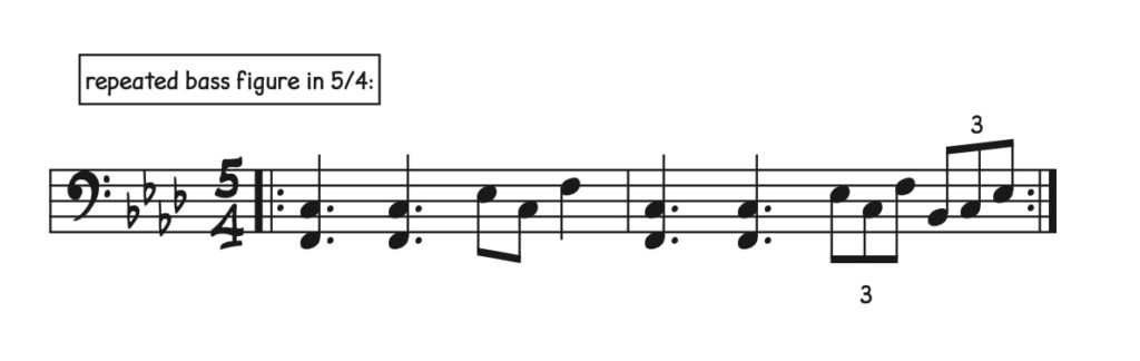 Ostinato, bass figure, written in 5/4 time.